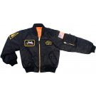 Kids Black Military US Air Force Style Top Gun MA-1 Flight Jacket