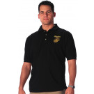 Black MARINES Embroidered Golf Shirt