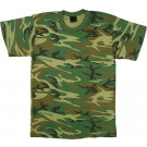 Woodland Camouflage Heavyweight Kids Military Tactical T-Shirt