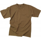 Brown Solid 100% Plain Solid Military T-Shirt