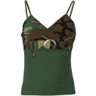 Womens Woodland Camouflage Spaghetti Strap Belt Buckle Tank Top