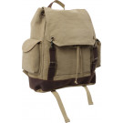 Khaki Vintage Military Expedition Rucksack Backpack Bag