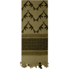 Olive Drab Shemagh Arab Tactical Desert Keffiyeh Scarf w/ Crossed Rifles