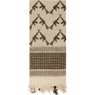 Tan Shemagh Arab Tactical Desert Keffiyeh Scarf w/ Crossed Rifles