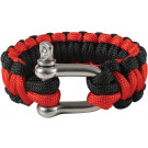 Black & Red Survival Paracord Cobra Bracelet w/ D-Shackle