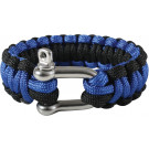 Royal Blue & Black Survival Paracord Cobra Bracelet w/ D-Shackle