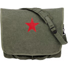 Olive Drab Vintage Military Red Star Paratrooper Messenger Shoulder Bag