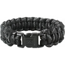 Black Reflective Survival Paracord Cobra Bracelet w/ Buckle