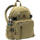 Khaki Vintage Military Red Star Canvas Mini Backpack
