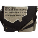 Black & Grey Vintage Military Imprinted Map Case Bag