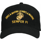 Black Military Marines Semper Fi Low Profile Adjustable Cap