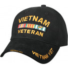 Black Military Vietnam Veteran Deluxe Low Profile Adjustable Cap