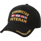 Black Military Afghanistan Veteran Deluxe Low Profile Adjustable Cap