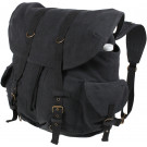 Black Vintage Military Canvas Front Strap Backpack