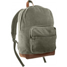 Olive Drab Military Canvas Tactical Teardrop Backpack With Leather Accents
