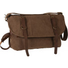 Brown Vintage Military Canvas Messenger Shoulder Bag With Leather Accents