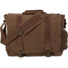 Earth Brown Vintage Military Canvas Laptop Shoulder Bag With Leather Accents