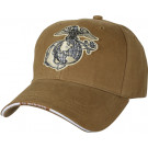 Coyote Brown Military Marines Globe & Anchor Low Profile Adjustable Cap
