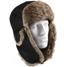 Black Bomber Aviator Fur Flyer's Trapper Hat