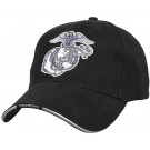 Black Military Marines Globe & Anchor Deluxe Low Profile Adjustable Cap