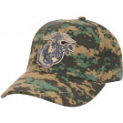 Woodland Digital Camouflage Deluxe USMC Globe & Anchor Logo Adjustable Cap