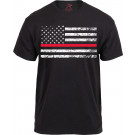 Black Thin Red Line Support Firefighters Distressed US Flag T-Shirt