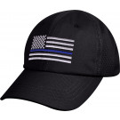 Black Thin Blue Line Police Subdued US Flag Mesh Back Low Profile Cap