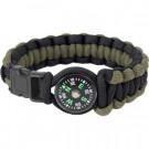 Olive Drab & Black Survival Paracord Cobra Bracelet w/ Buckle & Compass