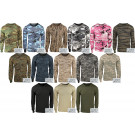 Camouflage Military Crewneck Long Sleeve T Shirt w/ ArmyUniverse® Pin