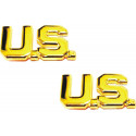 Polished Gold US Letters Insignia Pin Set