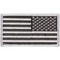 "Silver REVERSE USA American Flag Hook Patch 1 7/8"" x 3 3/8"""