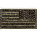 "Olive Drab REVERSE USA American Flag Hook Patch 1 7/8"" x 3 3/8"""