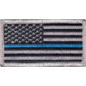 Thin Blue Line Police Pride Hook Loop USA Flag Patch