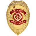 Gold Volunteer Firefighter Deluxe Fire Department Shield Badge