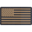 Khaki & Black USA American Flag PVC Hook Patch