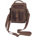 Brown Canvas & Leather Travel Shoulder Bag