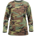 Women's Woodland Camouflage Long Length Military T-Shirt