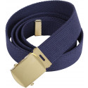 Navy Blue Military Web Belt with Brass Buckle
