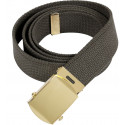 Olive Drab Military Web Belt with Brass Buckle
