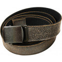 "Black Vintage Leather Reversible Web Belt (54"")"