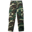 Woodland Camouflage Vintage Military Cargo Flat Front BDU Fatigue Pants