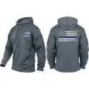 Grey Concealed Carry Subdued Thin Blue Line Hoodie Sweatshirt
