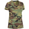 Womens Woodland Camouflage V-Neck Long Length Military T-Shirt