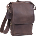 Brown Leather Military Tactical Tech iPad Shoulder Bag