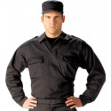 Black Military 2 Pocket BDU Polyester/Cotton Fatigue Shirt