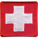 Red & White Emergency Red Cross Patch With Hook Back