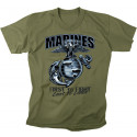 Olive Drab US Marines 'First to Fight, Last to Leave' T-Shirt