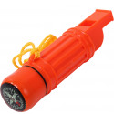 Safety Orange Deluxe Survival Aid Compass Whistle