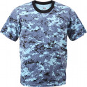 Sky Blue Digital Camouflage Military Short Sleeve T-Shirt