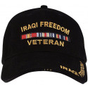 Black Military Iraqi Freedom Veteran Deluxe Low Profile Adjustable Cap
